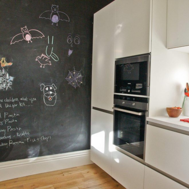 kitchen with blackboard